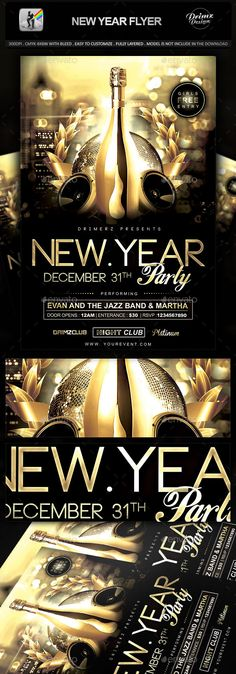 New Year Flyer Template PSD #design #nye Download: http://graphicriver.net/item/new-year-flyer/9437576?ref=ksioks