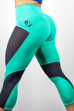 The Newest Addition to the BootyQueen Laser Cut Crop Legging Family. The Crop MINT chocolate Chip Limited Edition. With this Mint and Black crop option the legging is a moisture wicking matte Mint whi