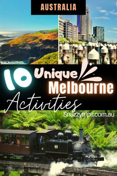 Have you been to Melbourne and done all the touristy stuff? Want to know what else there is to do? Then you need to check out this list of unique Melbourne activities to do in and around this fabulous Australian city, recommended by me, as a long-time local. These are 10 of the best places to visit, some which are not well known, others which are, but all quite unique and special. Best Travel Guides, Travel Tips, Melbourne Activities, Heritage Railway, Visit Australia, New Zealand Travel, Activities To Do, Train Rides, Vacation Trips