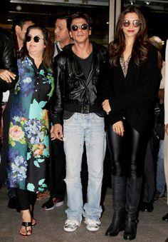 Farah Khan, Shah Rukh Khan and Deepika Padukone at the Mumbai airport. #Bollywood #Fashion #Style #Beauty #Handsome