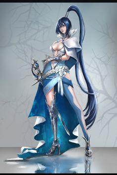 Fantasy Female Warrior, Fantasy Armor, Fantasy Women, Anime Fantasy, Fantasy Girl, Dark Fantasy, Female Art, Character Design Cartoon, Fantasy Character Design