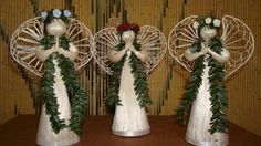 *Authentic Hawaiian Angel Doll Ornaments and Decoration for Party Favors and Christmas Tree Ornaments from Hawaii made to order Homemade Christmas Crafts, Christmas Favors, Christmas Angels, Christmas Themes, Christmas Tree Ornaments, Christmas Wreaths, Christmas Decorations, Homemade Crafts, Holiday Decorating