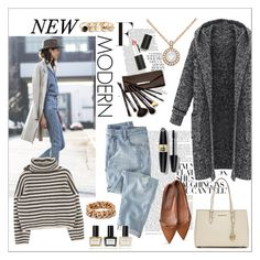 """Street Style::  Denim and Long Sweaters"" by fashiontake-out ❤ liked on Polyvore featuring Wrap, MICHAEL Michael Kors, Allurez, STELLA McCARTNEY, GUESS, Max Factor, Borghese, Balmain, Sigma Beauty and women's clothing"