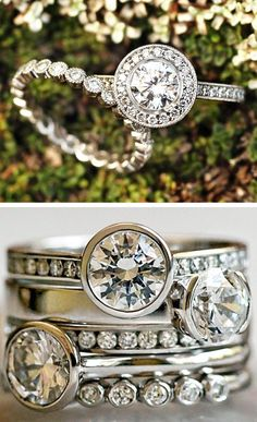 Modern Engagement Rings - pretty to look at but how cute is the guy?