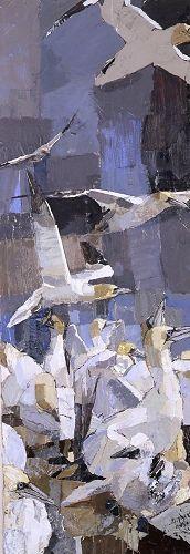 bass-underwood cubist modern art oil painting of sea birds on the cliffs