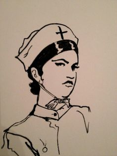 Cynthia von Buhler drawn as a nurse.