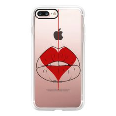 Heart Geisha Red Lips  - iPhone 7 Case, iPhone 7 Plus Case, iPhone 7... ($40) ❤ liked on Polyvore featuring accessories, tech accessories, iphone case, slim iphone case, apple iphone case, red iphone case, iphone cover case and iphone cases