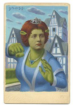 Alex Gross - Fiona #cabinetcards #alexgross #jonathanlevinegallery