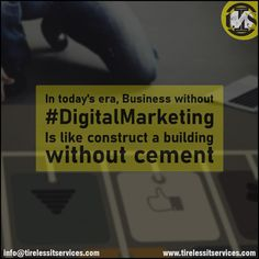 In today's era, Business without Digital Marketing Is like construct a building without cement.  #BusinessGrowth #marketingtips #marketingstrategy #contentcreation #DigitalMarketing #digitalagency #FridayMotivation #FridaysForFuture