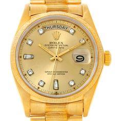 Rolex President Mens 18k Yellow Gold Diamond Watch 18078