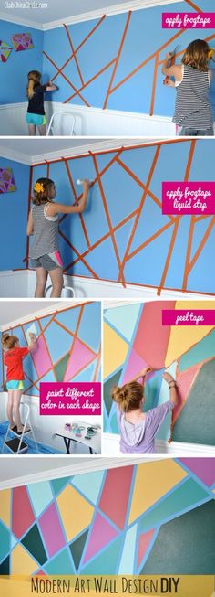 30+ DIY Ideas for Painting Walls - Modern Art Wall Design DIY - Cool Ways To Paint Walls - Techniques, Tips, Stencils, Tutorials, Fun Colors and Creative Designs for Living Room, Bedroom, Kids Room, Bathroom and Kitchen http://diyprojectsforteens.com/cool-ways-to-paint-walls