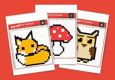 Pixel Art of autumn: free print sheets Image Pixel Art, Art Halloween, Modele Pixel Art, Pix Art, Paper Drawing, Free Prints, Crafts For Kids, Preschool, Animation
