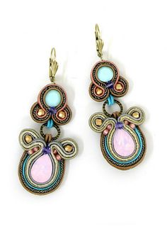 Earrings from Dori Csengeri's A/W 2012 collection 'Narnia' Ear Jewelry, Beaded Jewelry, Jewelery, Unique Jewelry, Soutache Tutorial, Soutache Necklace, Bead Embroidery Jewelry, Diamond Are A Girls Best Friend, Anklet