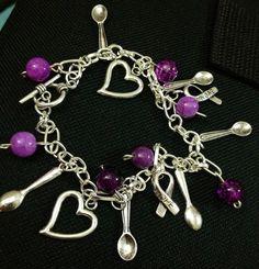 Purple Spoon Charm Bracelet by ThePaperPoppyStore on Etsy