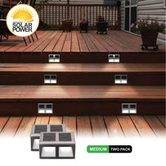 Sunstep Solar Step Light, 2 Pack Size: Medium - x x inch, Deck Steps, Porch Steps, Backyard Patio Designs, Backyard Landscaping, Small Backyard Decks, Small Deck Designs, Covered Deck Designs, Landscaping Ideas, Diy Backyard Projects