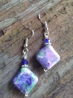 Purple Violet diagonal bead Wire Wrapped Earrings by PrairiePinePeddler on Etsy