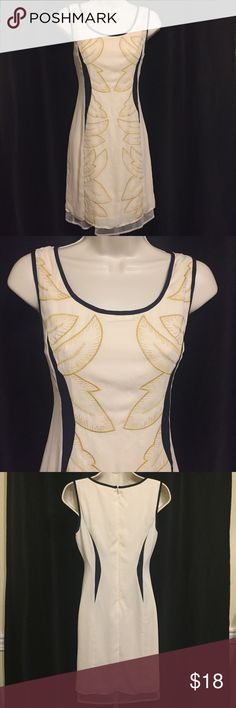 "Altar'd State IvoryNavy Gold Leaf Dress Size Small Ivory Sheath  Trimmed in navy.  Gold leaf pattern on center front.  Sleeveless SIZE SMALL Measurements Armpit to armpit 16"" Length 33 1/2"" ALTARD STATE Dresses"