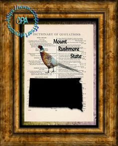 SOUTH DAKOTA State Black Silhouette, State Bird, State Nickname Art - Beautifully Upcycled Vintage Dictionary Page Book Art Print by CocoPuffsArt on Etsy