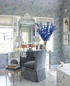 Miles Redd makes me swoon over and over: Blue and silver wallpaper, mirrored dressing table and Venetian mirror give this bathroom and incredibly romantic feel.