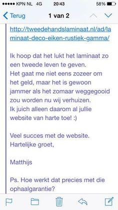 Leuk! Matthijs = Fan van Tweedehandslaminaat.nl :)