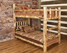 Log Twin Lacquered Bunk Bed - Our log bunk bed is handcrafted in Montana from solid Lodge Pole Pine. The quality of this bunk bed will last for generations to come. Rustic bedroom, Cabin bedroom, Rustic décor, Rustic home decor, Rustic home, Mountain home, Bunkbed, Southwestern decorating, Southwest décor, Cabin décor, Luxury cabin, Cabin furniture, Cabin furniture bedroom, Log cabin homes, Log cabin decor