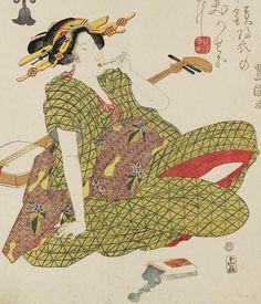 Woman with shamisen. Ukiyo-e woodblock print, early 1800's, Japan, by artist Utagawa Toyokuni I.