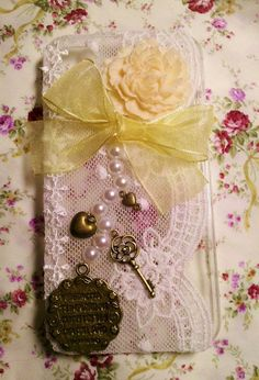 Diy Handmade Lace Pearl Phone Case E Flower and by HeartmadeMacau, $19.99