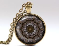 Amazing Mandala pendant with a chain or a leather cord. Gorgeous Spiritual jewelry in bronze or silver finish. Unique Sacred necklace.  SIZE: 25 mm (1