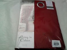 Ring Top Pair Eyelet Ready Made Curtains 66 x 90 Cotton Canvas Red Bedroom