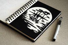 рисунок ручкой, графика, силуэт, вода, солнце, дерево, пальма, отражение, sketch