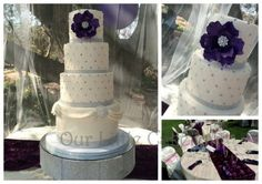 Bling wedding cake, quilting with swag drapes. Giant deep purple sugar flower