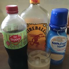 Russian Dr.  3 Parts Dr. pepper 1 Part French Vanilla Creamer (Liquid) 1 Part Fireball Whiskey  Russian Rum Dr.  Substitute Creamer w/ RumChata