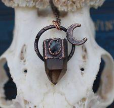 Smoky quartz point & snowflake obsidian crescent copper moon necklace