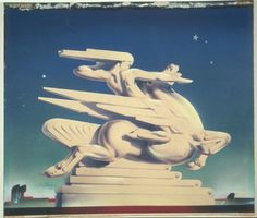 Design for 1939 New York World Fair: Sculpture of a figure on a winged horse