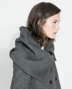 ZARA - WOMAN - WOOL COAT WITH WRAP AROUND COLLAR