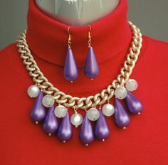 Purple Lucite Bib Necklace and Earrings from by LynnsBeadsNThings, $32.00