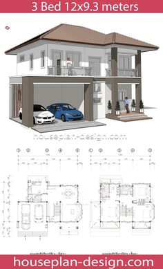 House Plan & Design – House Design Idea 12x9.3 with 3 Bedrooms
