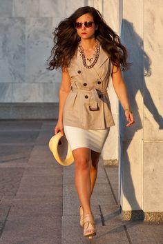 Trench Vest + Bandage Skirt #districtdressup