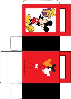 Mickey and Gift Box, Mickey Mouse, Favor Box - Free Printable Ideas from Family Shoppingbag.com