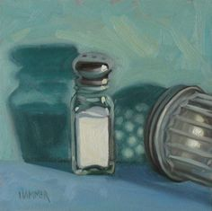 """In the spotlight 6x6 oil on Ampersand gessobord"" - Original Fine Art for Sale - © Claudia Hammer"