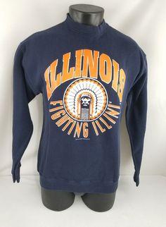 Vintage 1994 University Of Illinois Chief Illiniwek Sweater Adult Medium (M) #TultexDiscusAthletic #SportingEventApparelCasual #UniversityOfIllinoisFightingIllini