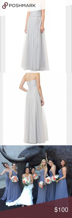 Bari Jay Bridesmaid dress Long gown with deep sweetheart neckline , gathered bodice and long skirt ,lightly gathered at the waist with pockets and center back zipper. Actual color is called shadow which is seen in last 2 photos. bari jay Dresses Wedding