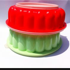 Vintage green Tupperware and red Jello molds. | Kitchen
