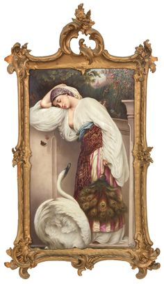 This lovely hand-painted KPM porcelain Plaque with a scene of a woman leaning against a wall.