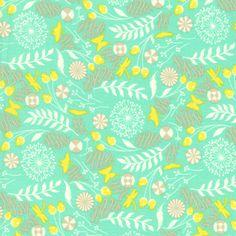 Tula Pink Fabric, Prince Charming, Dandelion, Aqua