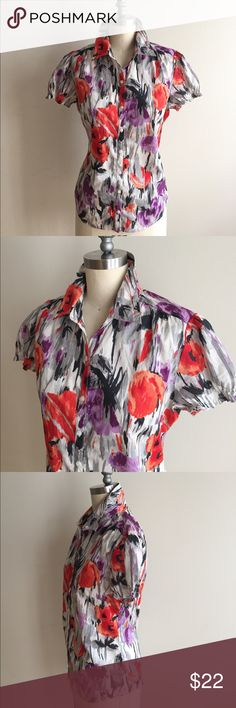 Abstract Print Purple and Orange Floral Button Up! Measures 39 bust, 34 waist, 24 from top to bottom, great condition. Tommy Hilfiger Tops Button Down Shirts
