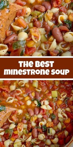 The Best Minestrone Soup & Soup Recipe & Healthy Recipe & This is honestly the best Minestrone Soup! A vegetable broth tomato base and then loaded with fresh vegetables, beans, and tender small shell pasta. Healthy Soup Recipes, Easy Dinner Recipes, Cooking Recipes, Vegetable Soup Recipes, Vegetable Broth Soup, Keto Recipes, Healthy Hearty Soup, Vegetarian Vegetable Soup, Garden Vegetable Soup