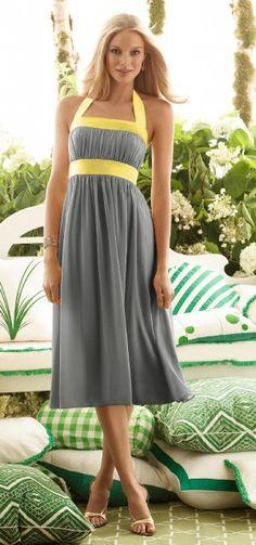 gray and yellow dress...