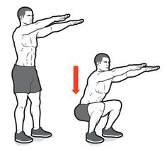 The component of health related fitness is muscular endurance. Body weight squats are a very good workout for this. Start by doing 3 sets of 10 reps and go up from there. Doing this will help increase your muscular endurance over time Body Weight Circuit, Body Weight Squat, Weight Loss Workout Plan, Hiit, 30 Minute Cardio Workout, Bodyweight Routine, Kick Boxing, Crossfit, Cardio Training