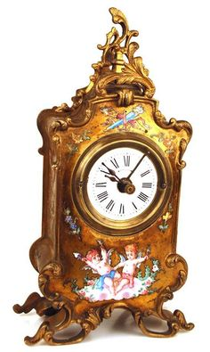 Antique French Bronze Doré Clock w/Enamel Cherubs